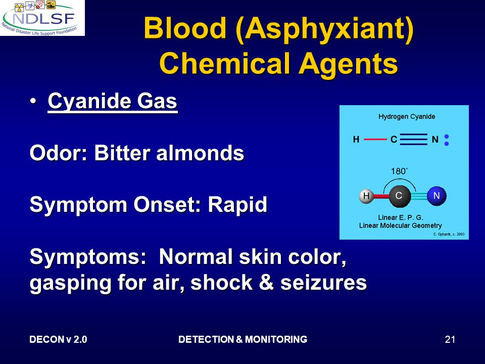 DECON v 2.0DETECTION & MONITORING21 Blood (Asphyxiant) Chemical Agents Cyanide GasCyanide Gas Odor: Bitter almonds Symptom Onset: Rapid Symptoms: Normal skin color, gasping for air, shock & seizures