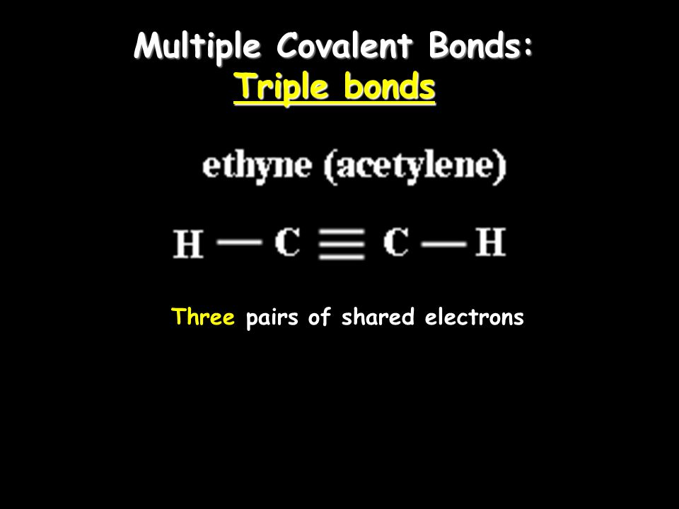 Multiple Covalent Bonds: Double bonds Two pairs of shared electrons