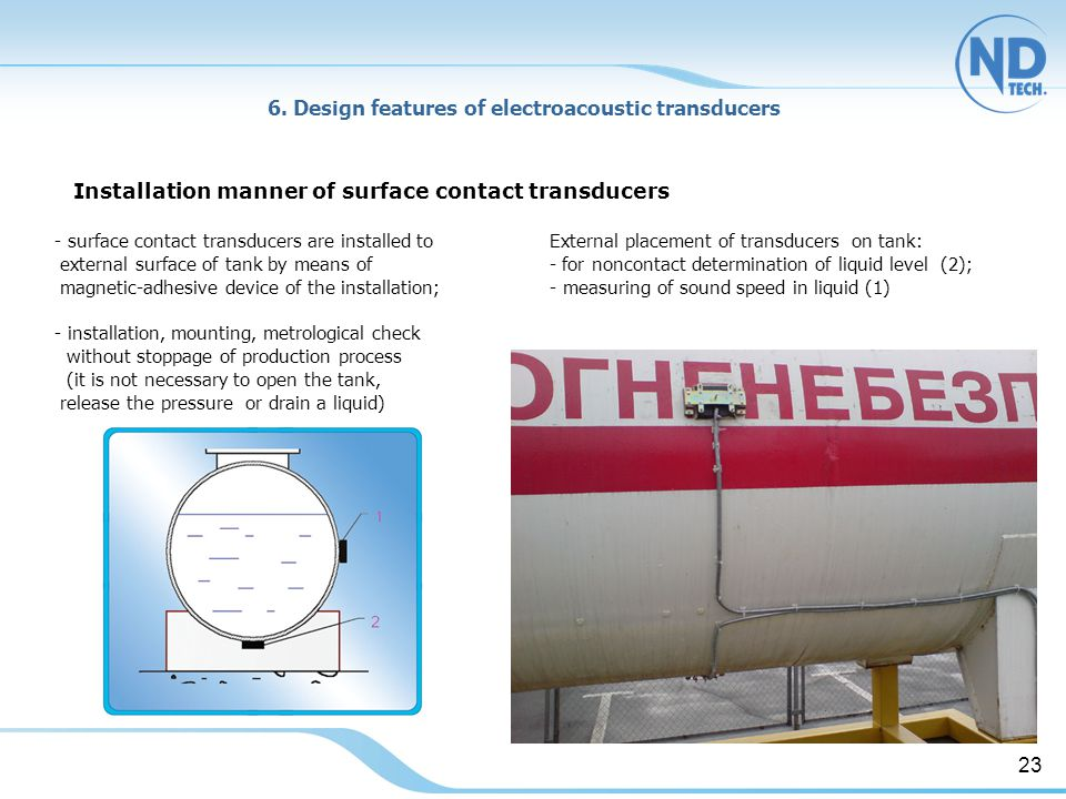Installation manner of surface contact transducers 6.