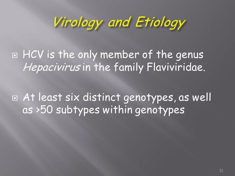  HCV is the only member of the genus Hepacivirus in the family Flaviviridae.