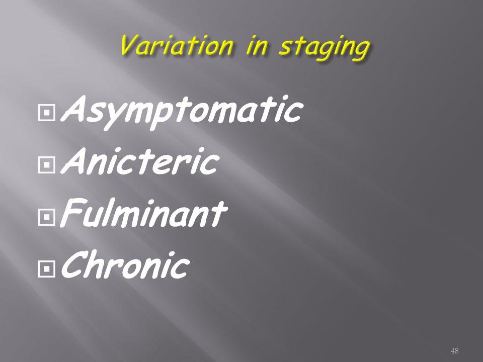  Asymptomatic  Anicteric  Fulminant  Chronic 48