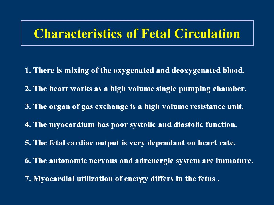 Characteristics of Fetal Circulation 1. There is mixing of the oxygenated and deoxygenated blood.