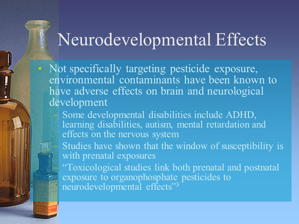 Neurodevelopmental Effects Not specifically targeting pesticide exposure, environmental contaminants have been known to have adverse effects on brain and neurological development –Some developmental disabilities include ADHD, learning disabilities, autism, mental retardation and effects on the nervous system –Studies have shown that the window of susceptibility is with prenatal exposures – Toxicological studies link both prenatal and postnatal exposure to organophosphate pesticides to neurodevelopmental effects 3