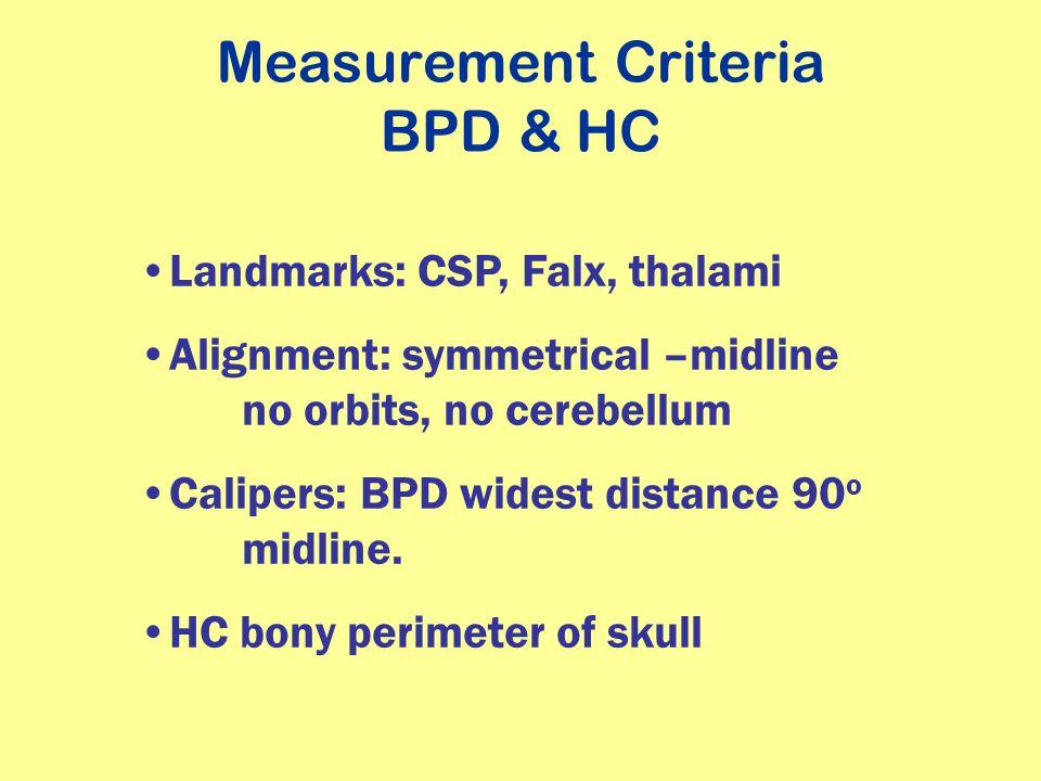 Measurement Criteria BPD & HC Landmarks: CSP, Falx, thalami Alignment: symmetrical –midline no orbits, no cerebellum Calipers: BPD widest distance 90