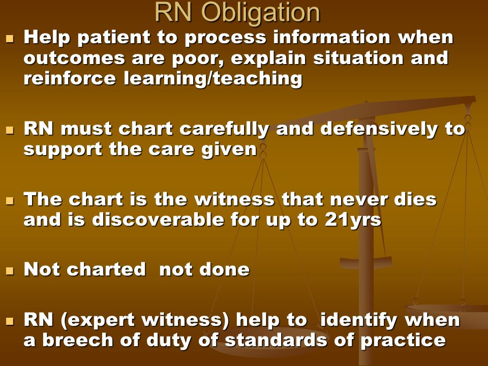 RN Obligation Help patient to process information when outcomes are poor, explain situation and reinforce learning/teaching Help patient to process in