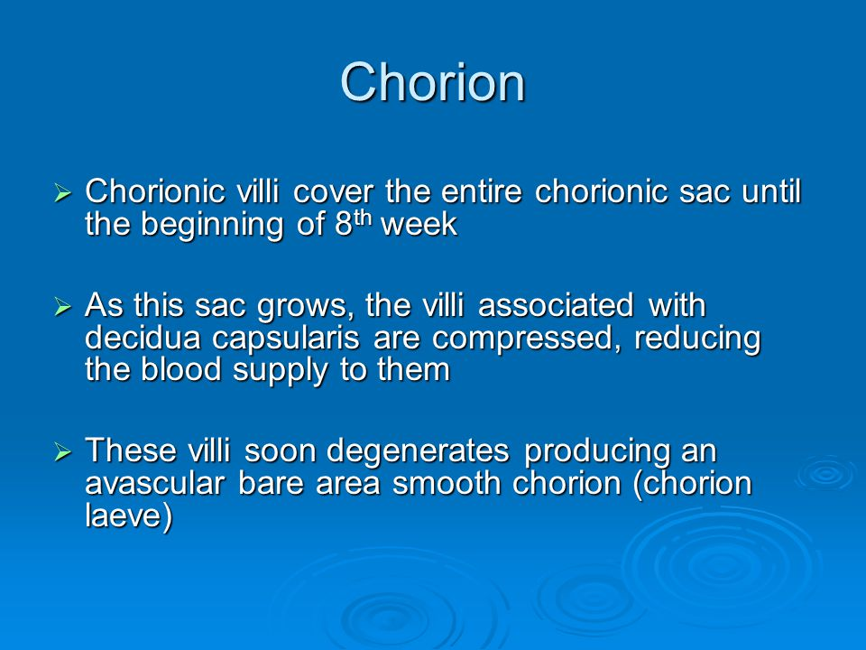 Chorion  Chorionic villi cover the entire chorionic sac until the beginning of 8 th week  As this sac grows, the villi associated with decidua capsu