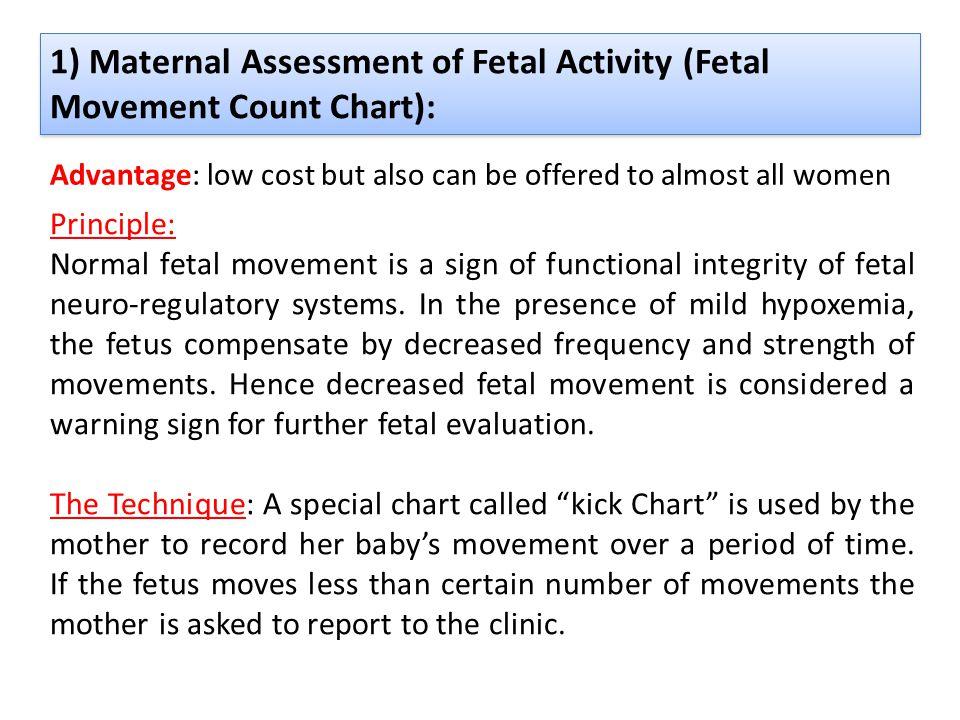 1) Maternal Assessment of Fetal Activity (Fetal Movement Count Chart): Principle: Normal fetal movement is a sign of functional integrity of fetal neu