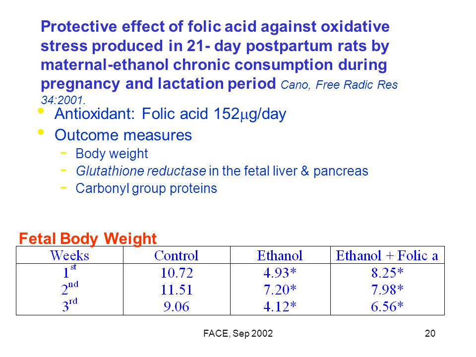 FACE, Sep 200220 Protective effect of folic acid against oxidative stress produced in 21- day postpartum rats by maternal-ethanol chronic consumption during pregnancy and lactation period Cano, Free Radic Res 34:2001.