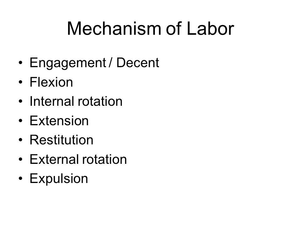 Mechanism of Labor Engagement / Decent Flexion Internal rotation Extension Restitution External rotation Expulsion