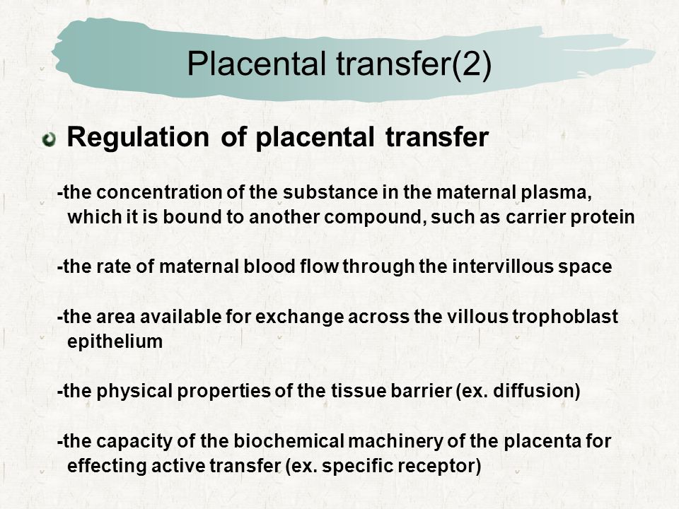 Placental transfer(2) Regulation of placental transfer -the concentration of the substance in the maternal plasma, which it is bound to another compound, such as carrier protein -the rate of maternal blood flow through the intervillous space -the area available for exchange across the villous trophoblast epithelium -the physical properties of the tissue barrier (ex.