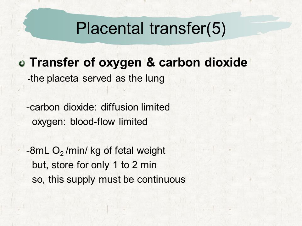 Placental transfer(5) Transfer of oxygen & carbon dioxide - the placeta served as the lung -carbon dioxide: diffusion limited oxygen: blood-flow limited -8mL O 2 /min/ kg of fetal weight but, store for only 1 to 2 min so, this supply must be continuous