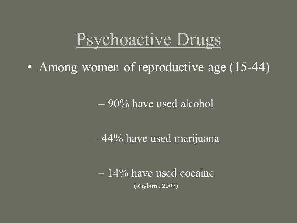 Psychoactive Drugs Among women of reproductive age (15-44) –90% have used alcohol –44% have used marijuana –14% have used cocaine (Rayburn, 2007)