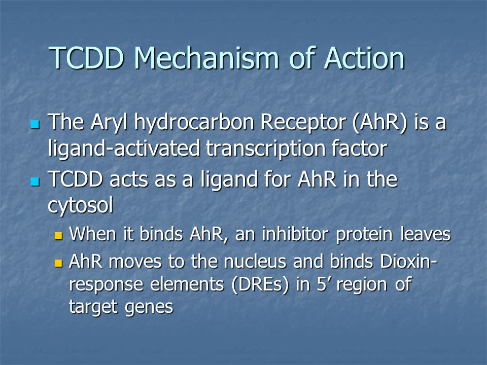 TCDD Mechanism of Action The Aryl hydrocarbon Receptor (AhR) is a ligand-activated transcription factor The Aryl hydrocarbon Receptor (AhR) is a ligan