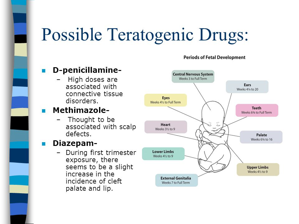 Possible Teratogenic Drugs: D-penicillamine- – High doses are associated with connective tissue disorders. Methimazole- – Thought to be associated wit