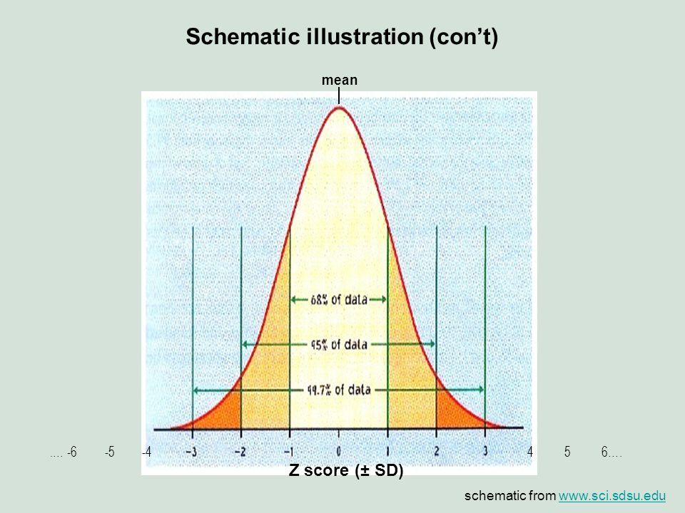 Z score (± SD) 4 5 6…..… -6 -5 -4 mean Schematic illustration (con't) schematic from www.sci.sdsu.eduwww.sci.sdsu.edu