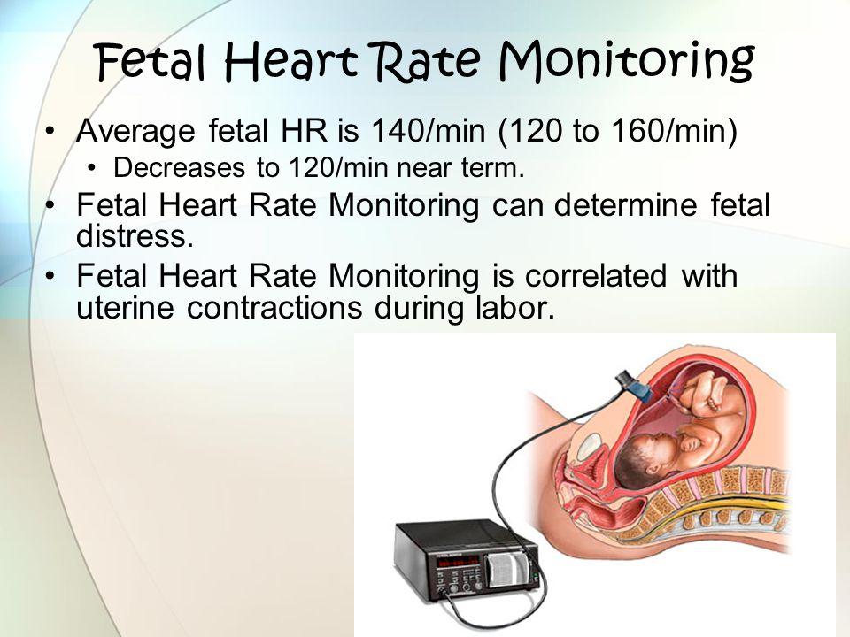 Fetal Heart Rate Monitoring Average fetal HR is 140/min (120 to 160/min) Decreases to 120/min near term. Fetal Heart Rate Monitoring can determine fet