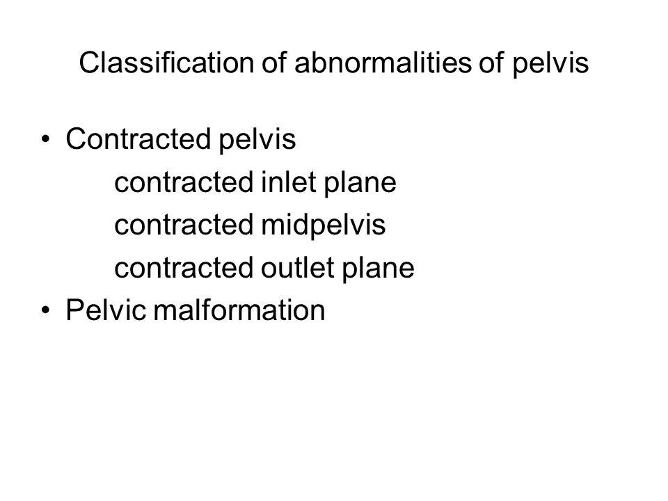 Classification of abnormalities of pelvis Contracted pelvis contracted inlet plane contracted midpelvis contracted outlet plane Pelvic malformation