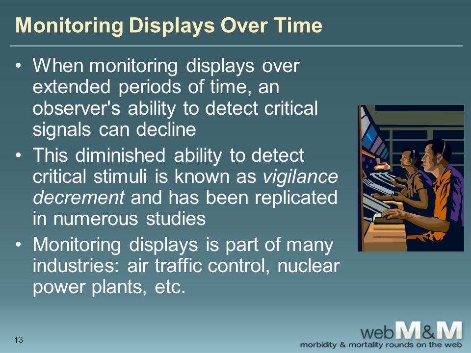 Monitoring Displays Over Time When monitoring displays over extended periods of time, an observer s ability to detect critical signals can decline This diminished ability to detect critical stimuli is known as vigilance decrement and has been replicated in numerous studies Monitoring displays is part of many industries: air traffic control, nuclear power plants, etc.