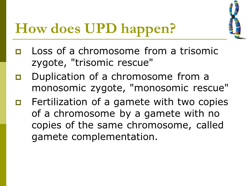 How does UPD happen?  Loss of a chromosome from a trisomic zygote,