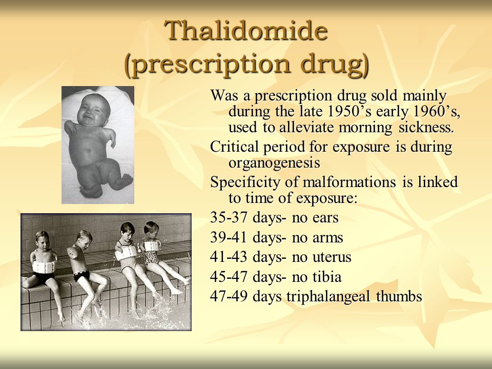 Thalidomide (prescription drug) Was a prescription drug sold mainly during the late 1950's early 1960's, used to alleviate morning sickness.