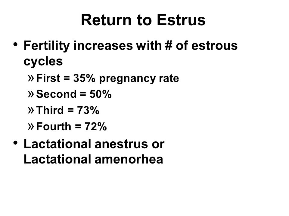 Return to Estrus Fertility increases with # of estrous cycles » First = 35% pregnancy rate » Second = 50% » Third = 73% » Fourth = 72% Lactational anestrus or Lactational amenorhea