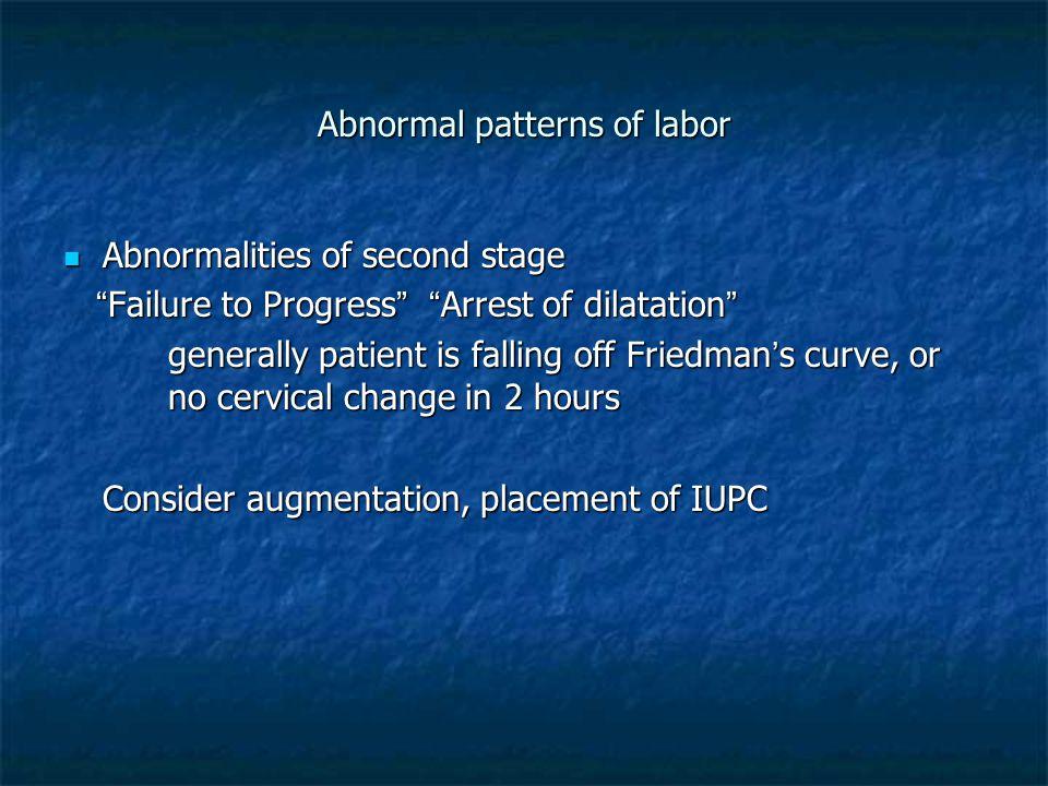 "Abnormal patterns of labor Abnormalities of second stage Abnormalities of second stage ""Failure to Progress"" ""Arrest of dilatation"" ""Failure to Progre"
