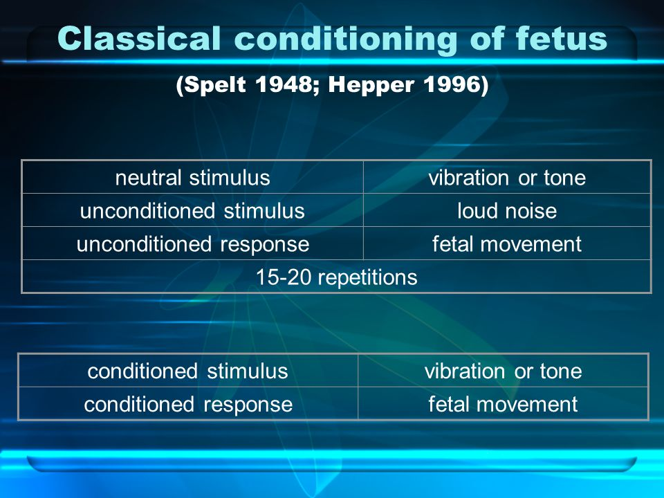 Classical conditioning of fetus (Spelt 1948; Hepper 1996) neutral stimulusvibration or tone unconditioned stimulusloud noise unconditioned responsefet