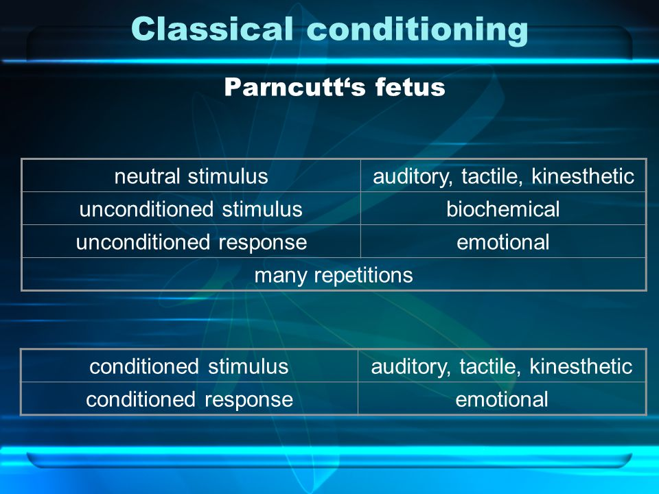 Classical conditioning Parncutt's fetus neutral stimulusauditory, tactile, kinesthetic unconditioned stimulusbiochemical unconditioned responseemotional many repetitions conditioned stimulusauditory, tactile, kinesthetic conditioned responseemotional