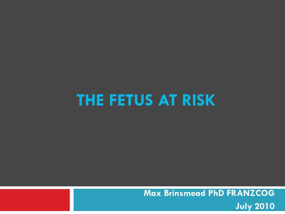 THE FETUS AT RISK Max Brinsmead PhD FRANZCOG July 2010