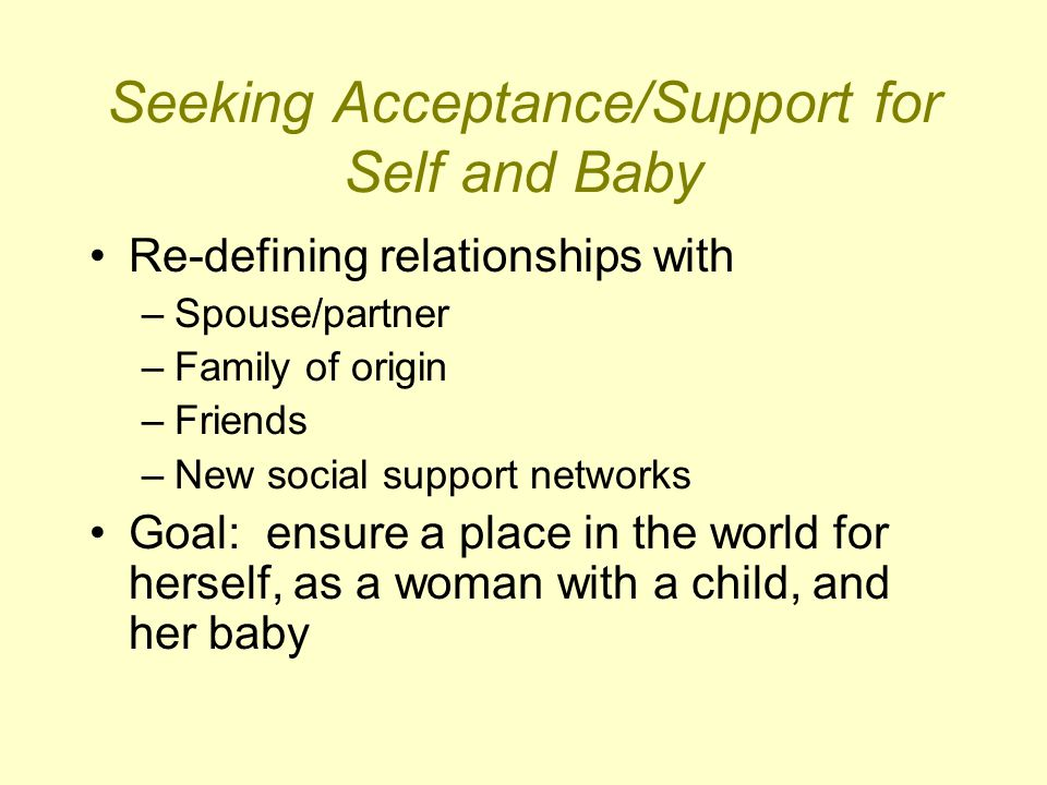 Seeking Acceptance/Support for Self and Baby Re-defining relationships with –Spouse/partner –Family of origin –Friends –New social support networks Go