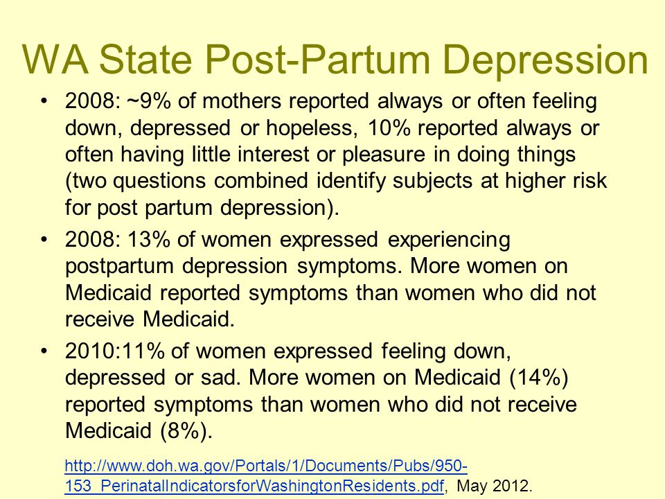 WA State Post-Partum Depression 2008: ~9% of mothers reported always or often feeling down, depressed or hopeless, 10% reported always or often having