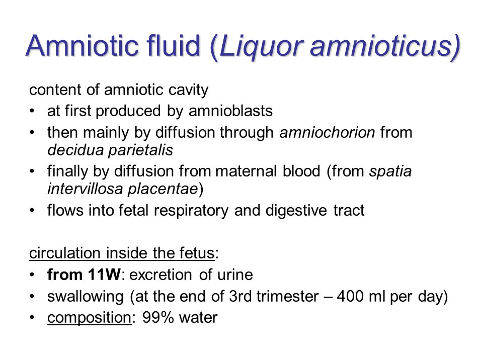 Amniotic fluid (Liquor amnioticus) content of amniotic cavity at first produced by amnioblasts then mainly by diffusion through amniochorion from decidua parietalis finally by diffusion from maternal blood (from spatia intervillosa placentae) flows into fetal respiratory and digestive tract circulation inside the fetus: from 11W: excretion of urine swallowing (at the end of 3rd trimester – 400 ml per day) composition: 99% water