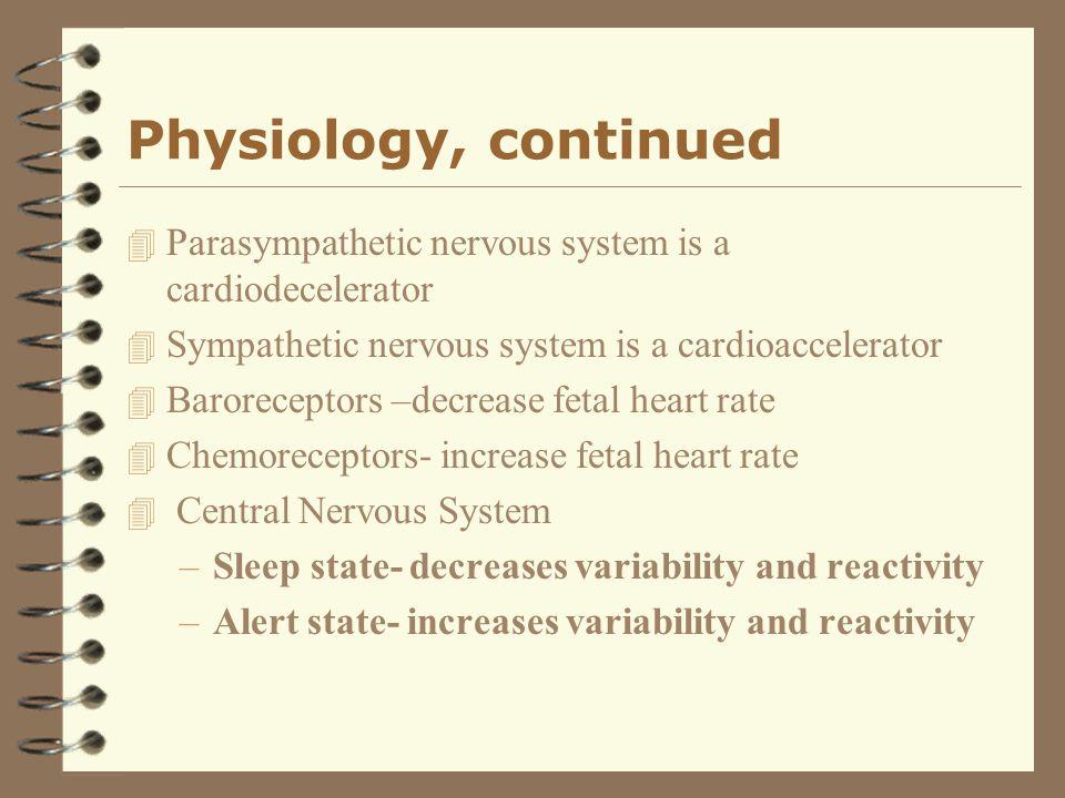 Physiology, continued 4 Parasympathetic nervous system is a cardiodecelerator 4 Sympathetic nervous system is a cardioaccelerator 4 Baroreceptors –dec