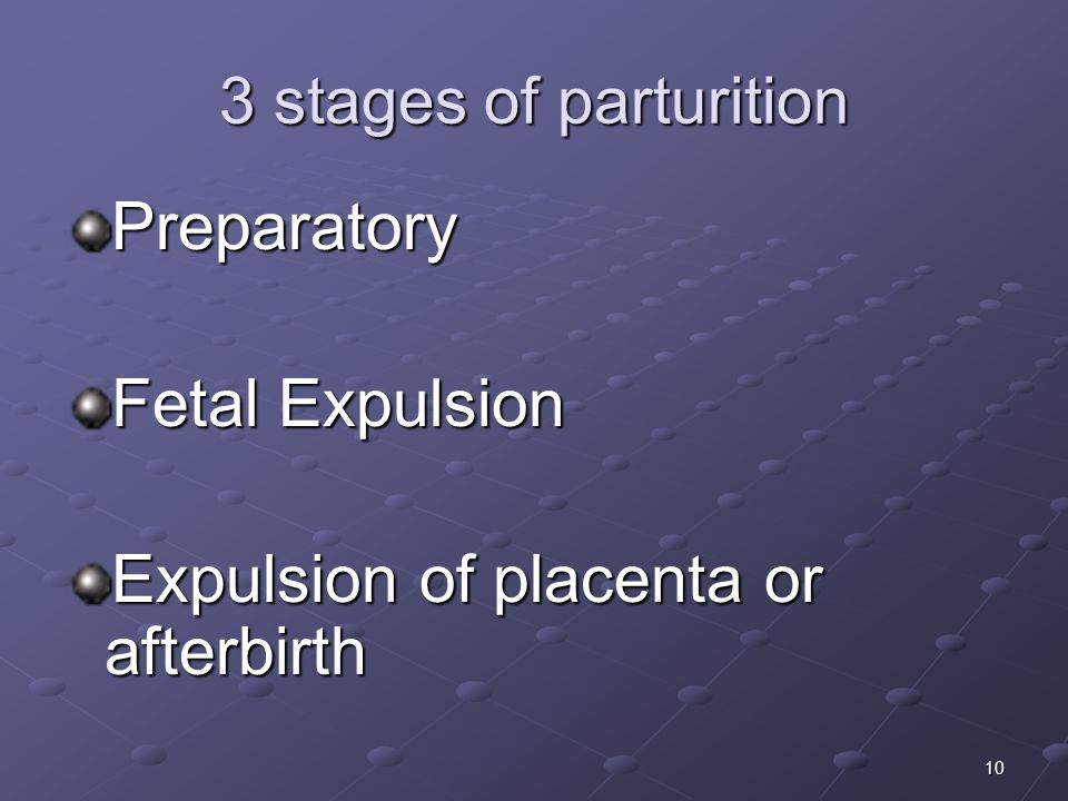 10 3 stages of parturition Preparatory Fetal Expulsion Expulsion of placenta or afterbirth