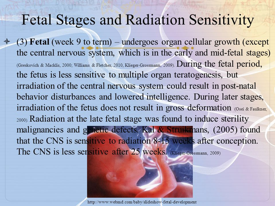 Fetal Stages and Radiation Sensitivity  (3) Fetal (week 9 to term) – undergoes organ cellular growth (except the central nervous system, which is in the early and mid-fetal stages) (Greskovich & Macklis, 2000; Williams & Fletcher, 2010, Klieger-Grossmann, 2009).