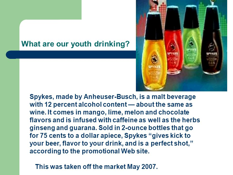 What are our youth drinking.