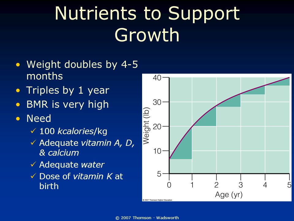 © 2007 Thomson - Wadsworth Nutrients to Support Growth Weight doubles by 4-5 months Triples by 1 year BMR is very high Need 100 kcalories/kg Adequate vitamin A, D, & calcium Adequate water Dose of vitamin K at birth
