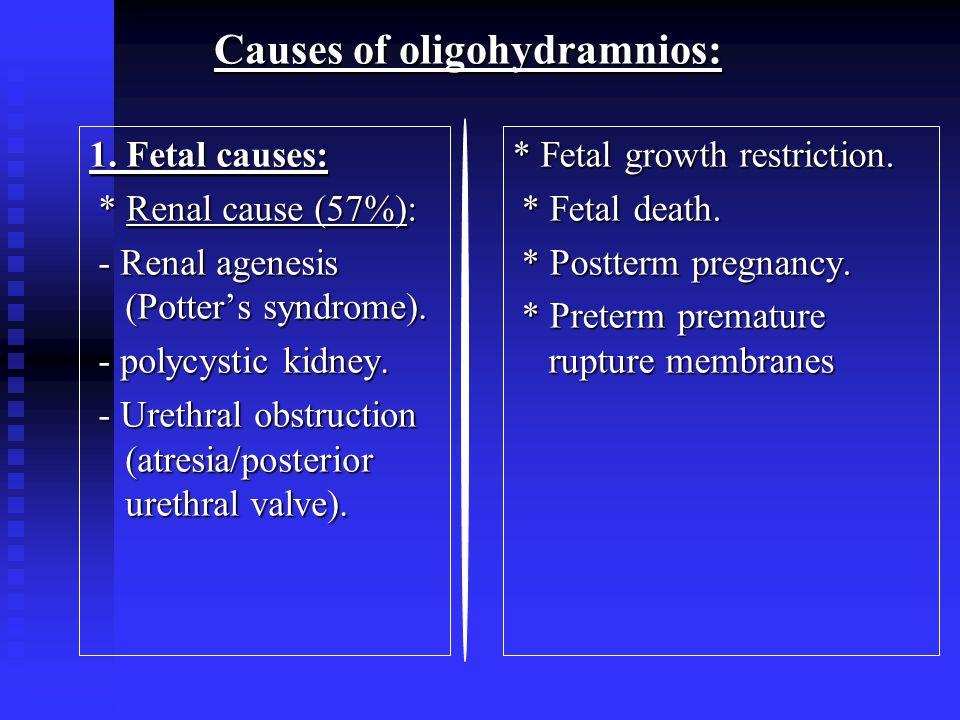 Causes of oligohydramnios: 1.