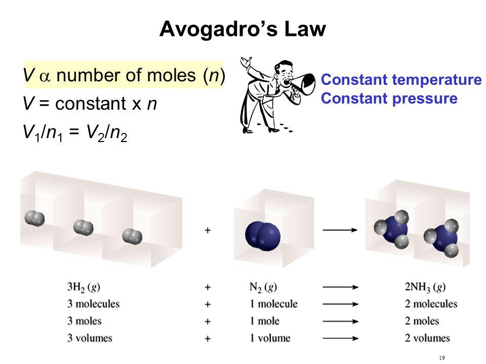 19 Avogadro's Law V  number of moles (n) V = constant x n V 1 /n 1 = V 2 /n 2 Constant temperature Constant pressure