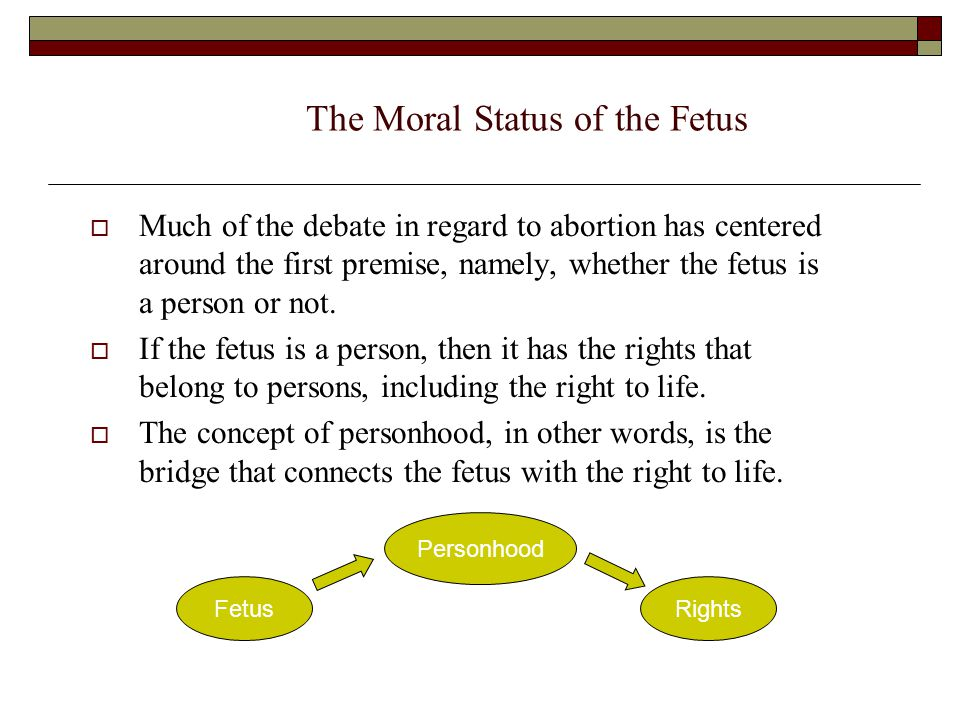 The Moral Status of the Fetus  Much of the debate in regard to abortion has centered around the first premise, namely, whether the fetus is a person or not.