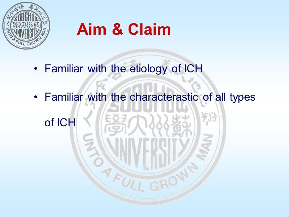 Aim & Claim Familiar with the etiology of ICH Familiar with the characterastic of all types of ICH