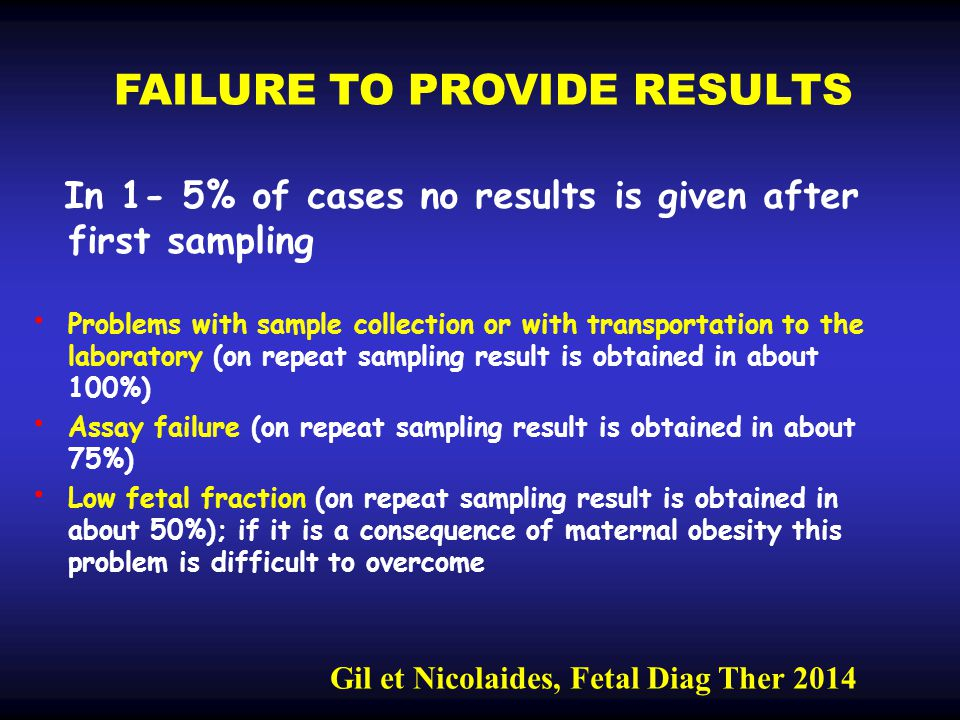 FAILURE TO PROVIDE RESULTS In 1- 5% of cases no results is given after first sampling Problems with sample collection or with transportation to the laboratory (on repeat sampling result is obtained in about 100%) Assay failure (on repeat sampling result is obtained in about 75%) Low fetal fraction (on repeat sampling result is obtained in about 50%); if it is a consequence of maternal obesity this problem is difficult to overcome Gil et Nicolaides, Fetal Diag Ther 2014