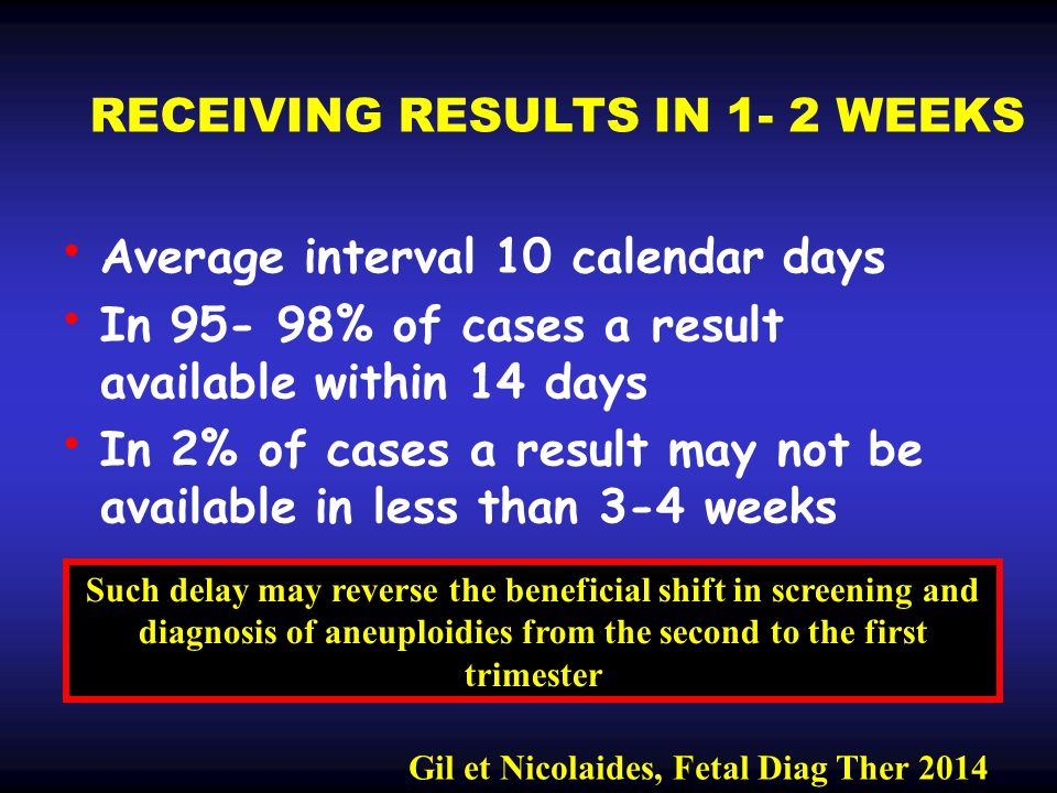 RECEIVING RESULTS IN 1- 2 WEEKS Average interval 10 calendar days In 95- 98% of cases a result available within 14 days In 2% of cases a result may no