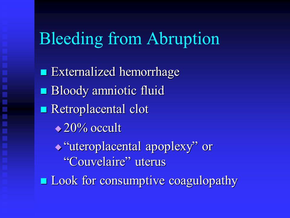 Bleeding from Abruption Externalized hemorrhage Externalized hemorrhage Bloody amniotic fluid Bloody amniotic fluid Retroplacental clot Retroplacental