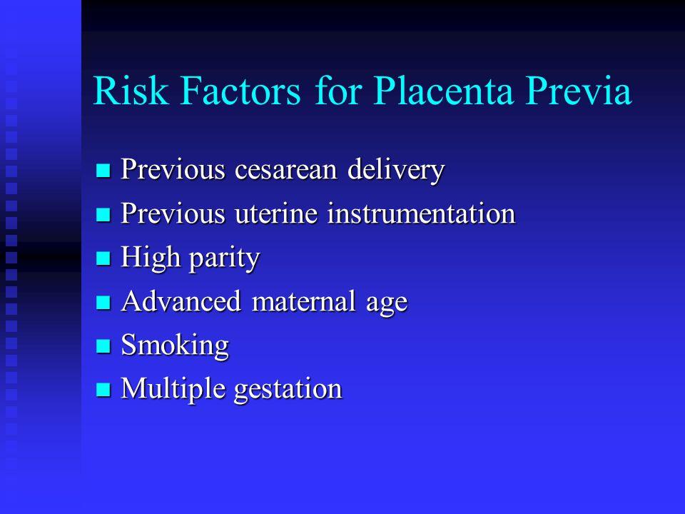 Risk Factors for Placenta Previa Previous cesarean delivery Previous cesarean delivery Previous uterine instrumentation Previous uterine instrumentati
