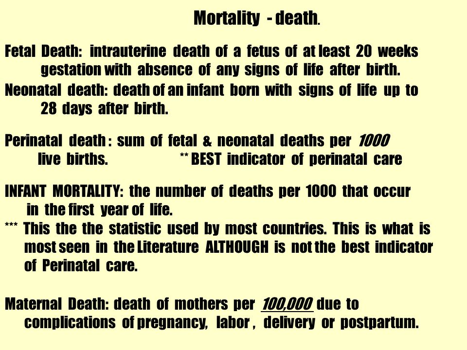 Mortality - death.