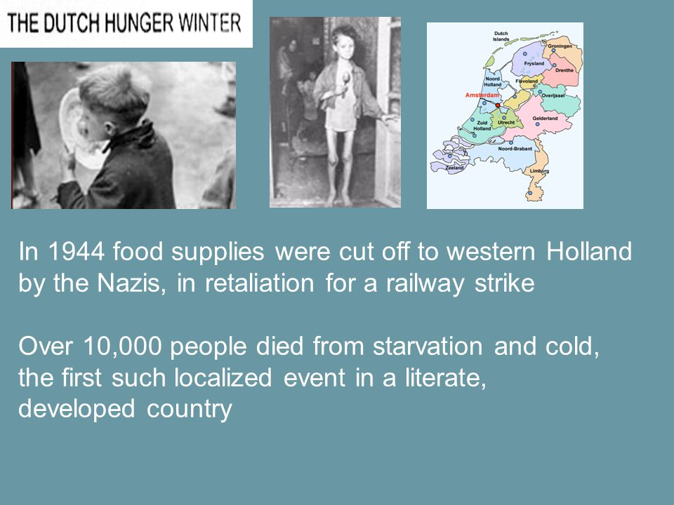 In 1944 food supplies were cut off to western Holland by the Nazis, in retaliation for a railway strike Over 10,000 people died from starvation and cold, the first such localized event in a literate, developed country