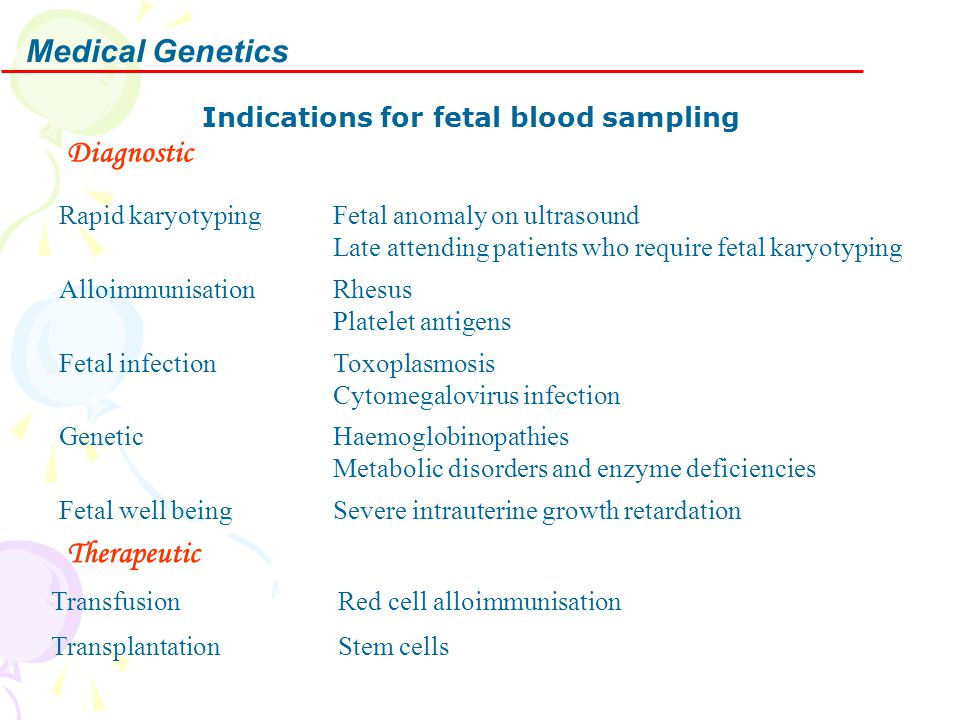 Medical Genetics Indications for fetal blood sampling Diagnostic Rapid karyotypingFetal anomaly on ultrasound Late attending patients who require feta