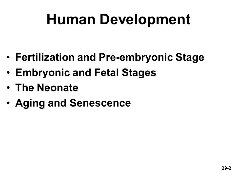 29-2 Human Development Fertilization and Pre-embryonic Stage Embryonic and Fetal Stages The Neonate Aging and Senescence