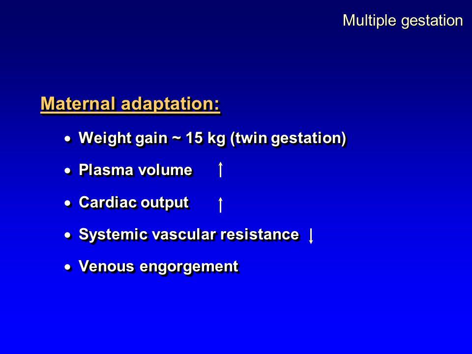 Multiple gestation Maternal adaptation:  Weight gain ~ 15 kg (twin gestation)  Plasma volume  Cardiac output  Systemic vascular resistance  Venou